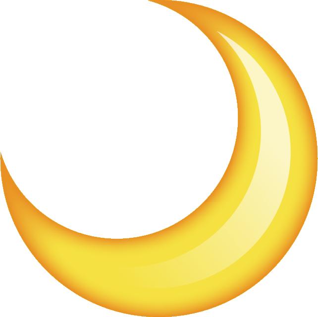 Yellow Crescent Moon Transparent