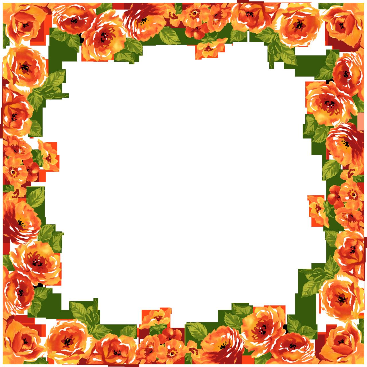 Floral Orange Frame